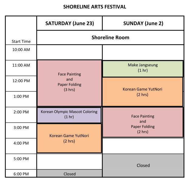 2018 Shoreline Arts Festival Korean Culture Room Schedule